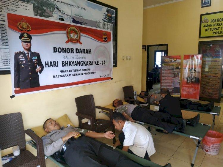 Dalam Rangka Hari Bhayangkara Ke-74, Polres Ngada Gelar Donor Darah