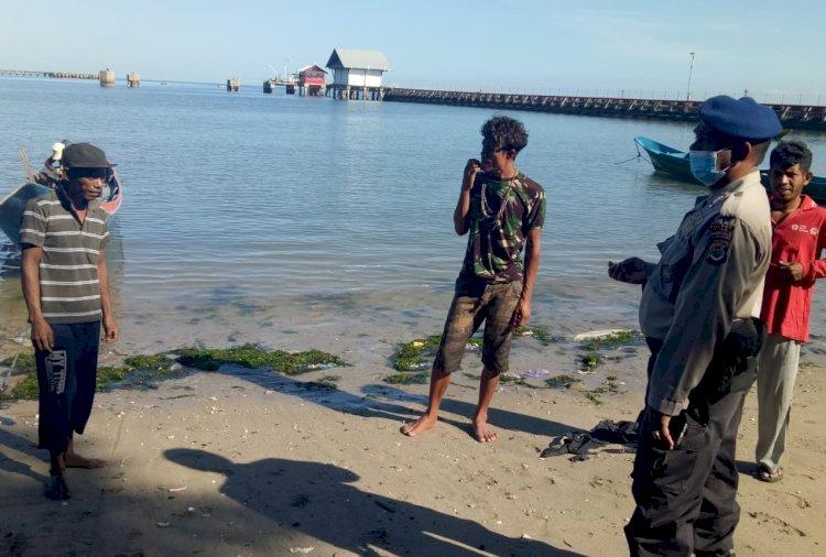 New Normal, Sat Pol Airud Polres Belu Ajak Nelayan Disiplin Terapkan Protokol Kesehatan Pencegahan Covid-19