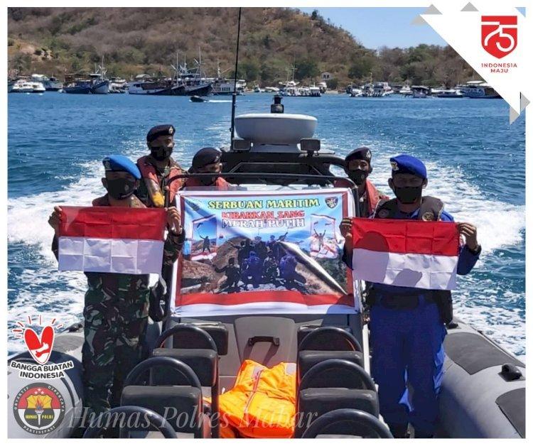 TNI AL dan Polairud Mabar Kibarkan Merah Putih dalam Kegiatan Serbuan Maritim