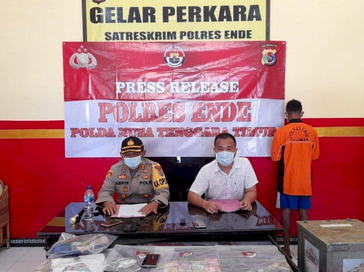 Kapolres Ende Pimpin Press Release Kasus Pencurian Kotak Amal Di Mesjid Darul Taqwa Simpang Lima Ende