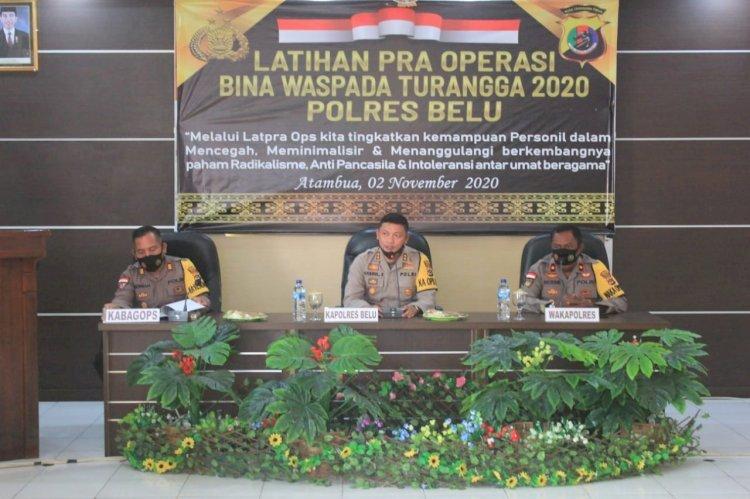Buka Latihan Pra Operasi, Kapolres Belu Sampaikan Teknis Pelaksanaan Ops Bina Kusuma tahun 2020
