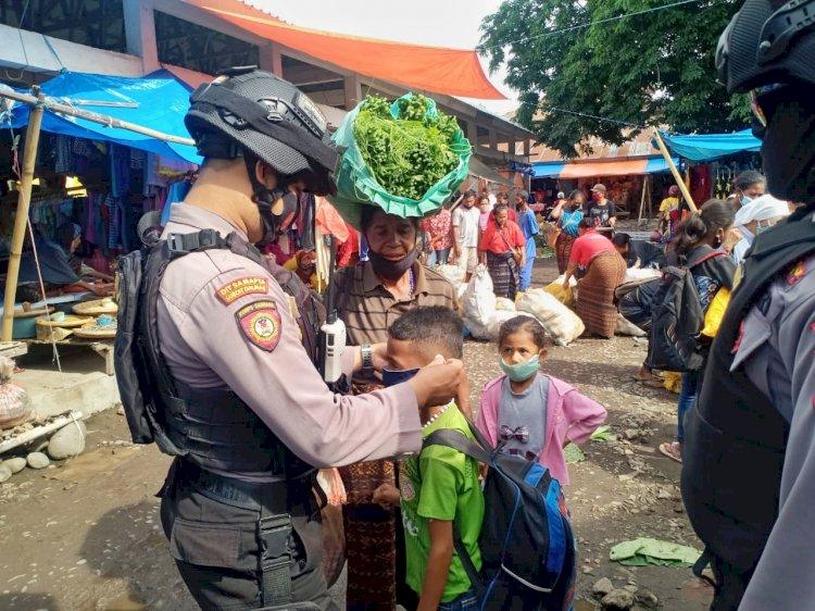 Cegah Covid-19, Personel Sat Samapta Polres Ende Terus Malakukan Imbauan Penerapan Protokol Kesehatan
