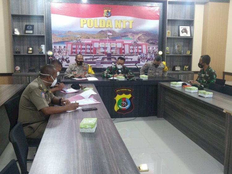 TNI-Polri dan Satpol PP Menggelar Rapat Penegakan Hukum Ops Yustisi Covid-19 di Mapolda NTT