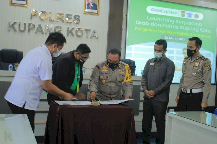 Tingkatkan Pelayanan Publik, Polres Kupang Kota Jalin kerjasama Dengan Grab Terkait Pengiriman Dokumen