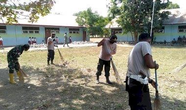 Sambut HUT ke-75 Bhayangkara, Wujud Sinergitas TNI POLRI Ditunjukan dengan Kerja Bhakti Bersama Membersihkan Lingkungan