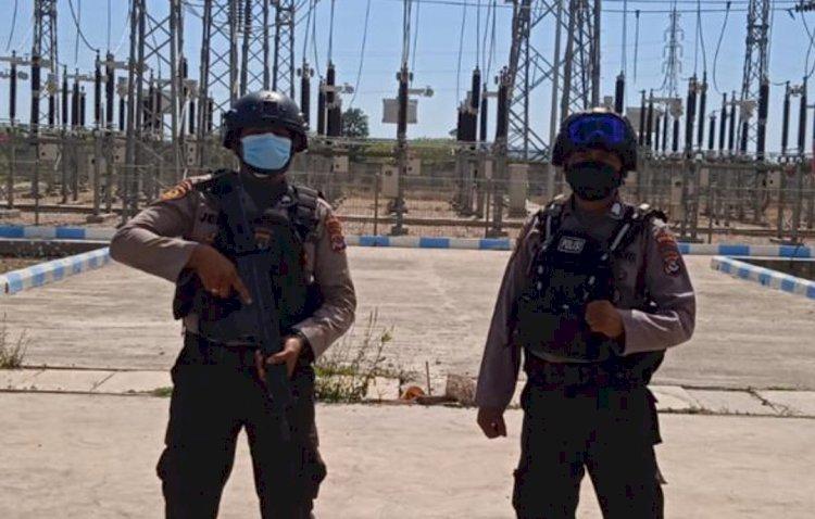 Personel Ditpamobvit Polda NTT Gelar Patroli Pengamanan dan Imbauan Prokes di Kawasan PLTU Bolok Kupang