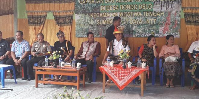 Kapolsek Wewewa Timur hadiri acara Pengukuhan Gapoktan dan Kelompok Tani Pemula di Kampung Watukarikideta