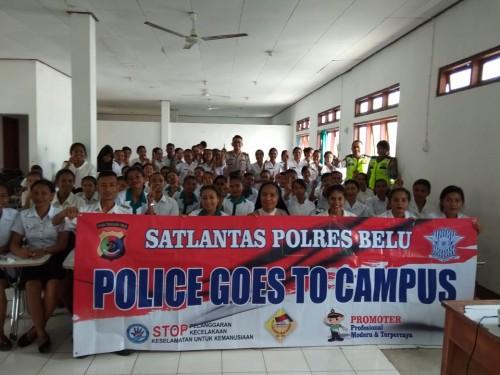 """""""Police Goes To Campus"""", Kasat Lantas Polres Belu Ajak Mahasiswa Keperawatan Unimor Budayakan Tertib Berlalu Lintas"""