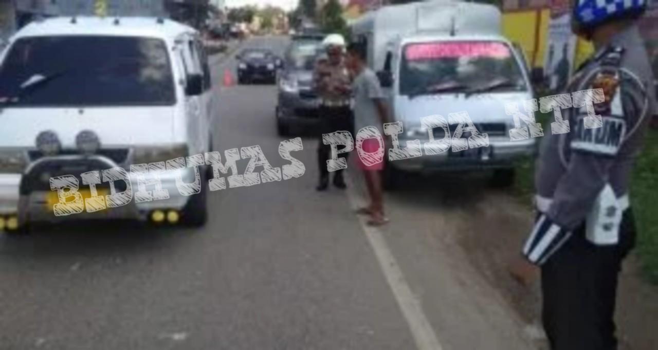 Tertibkan Kendaraan, Personel Sat Lantas Polres TTS Gelar OPS Keselamatan di Jalan Gajah Mada Soe